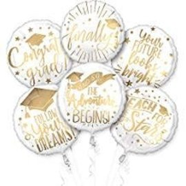 White & Gold The Adventure Begins Balloons 6ct
