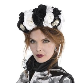 Black and Bone Floral Headpiece