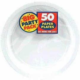 """Frosty White Big Party Pack Paper Plates, 9"""" 50ct"""