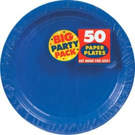 "Bright Royal Blue Big Party Pack Paper Plates, 9""- 50ct"