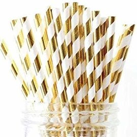 Paper Straws - Gold Stripe - 24 ct