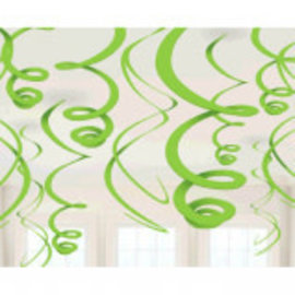 Kiwi Plastic Swirl Decorations, 12ct