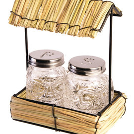 Straw Hut with Salt and Pepper Shaker