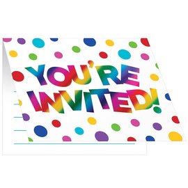 Rainbow Foil Invitations 8Ct