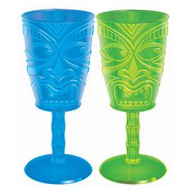 Tiki Face Wine Glasses, 14oz