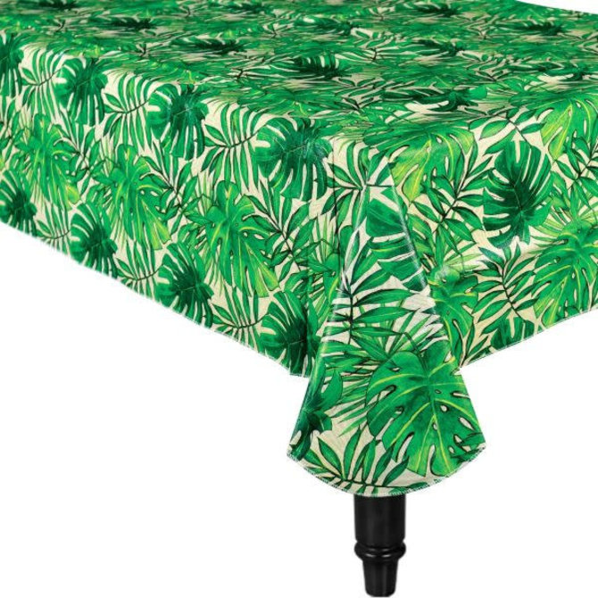 225 & Island Palm Flannel-Backed Vinyl Table Cover