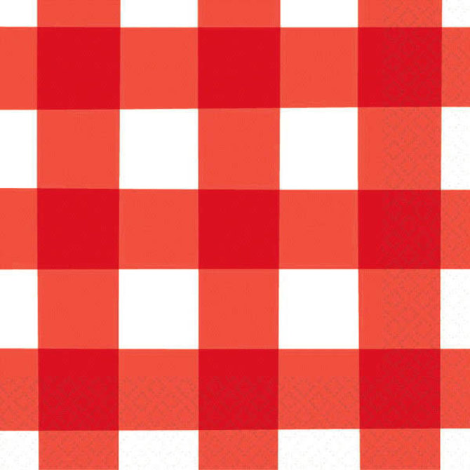 American Summer Red Gingham Beverage Napkins, 16ct