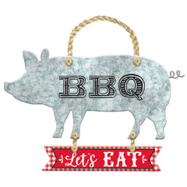 BBQ Metal Hanging Sign W/ Rope Hanger