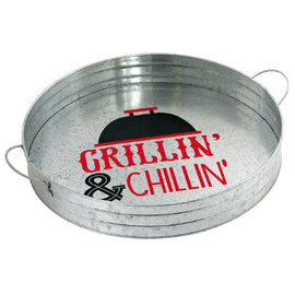 BBQ Round Metal Serving Tray