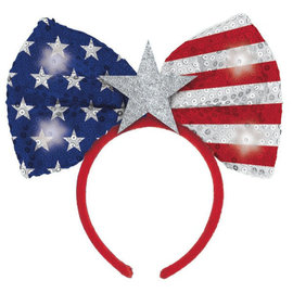 Patriotic Light Up Glitter Jumbo Bow Headband