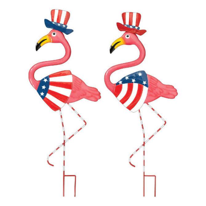 Patriotic Flamingo Yard Stake