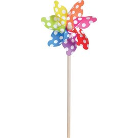 "Polka Dot Pinwheel 7"" Diameter (16"" Stick) Translucent Rainbow"