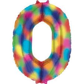 """34"""" 0 Rainbow Number Shape Balloon"""