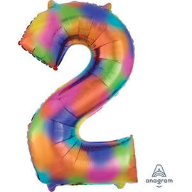 "34"" 2 Rainbow Number Shape Balloon"