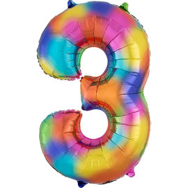 "34"" 3 Rainbow Number Shape Balloon"