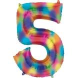 """34"""" 5 Rainbow Number Shape Balloon"""