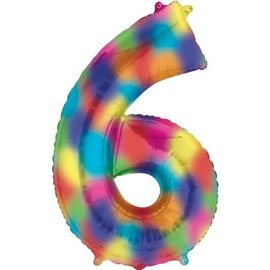 """34"""" 6 Rainbow Number Shape Balloon"""