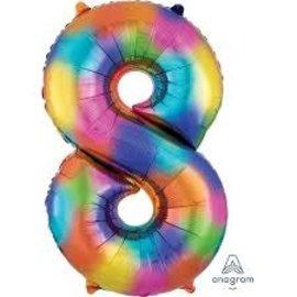 """34"""" 8 Rainbow Number Shape Balloon"""