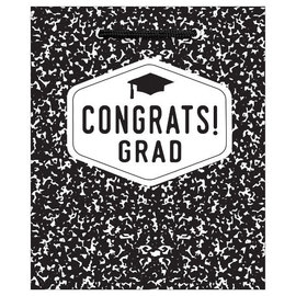 Medium Glossy Gift Bag - Congrats Grad Black & White