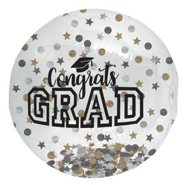 Grad Large Inflatable Autograph Confetti Ball - Black, Silver, Gold, 24""