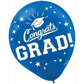 "Grad 12"" Latex Balloons - Blue, 15ct"