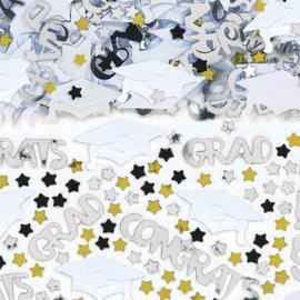School Colors Embossed Metallic Confetti - White 2.5oz