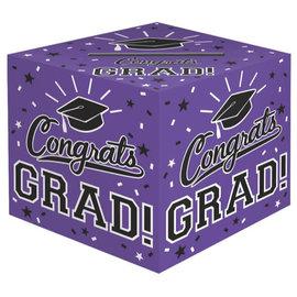 Purple Graduation Card Holder Box- Congrats Grad