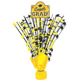 "Grad Large Spray Centerpiece w/ Printed Add‑On ‑ Yellow 18"""