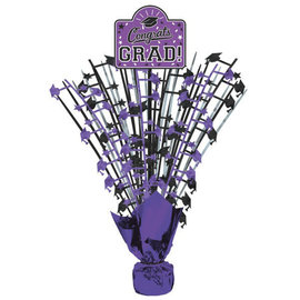 "Grad Large Spray Centerpiece w/ Printed Add‑On ‑ Purple 18"""