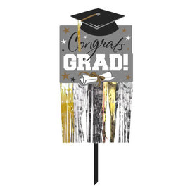 Graduation Embellished Yard Sign - Black, Silver, Gold