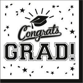 White Congrats Grad Lunch Napkins 36ct