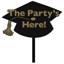 Grad Value Plastic Yard Sign - Black & Gold