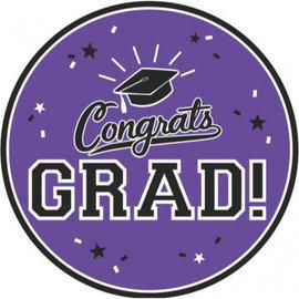 "Purple Graduation Round Plates, 9"" - Purple 18ct."