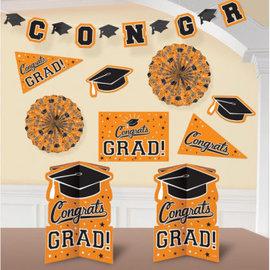 Grad Room Decorating Kit - Orange 10pc