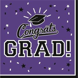 Purple Congrats Grad Lunch Napkins 36ct