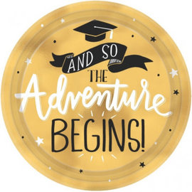 Metallic Gold The Adventure Begins Dessert Plates 8ct
