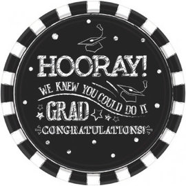 "Hooray Grad Round Plates, 10 1/2""-18ct"