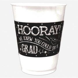 Hooray Grad Printed Plastic 16oz Cups, 25ct