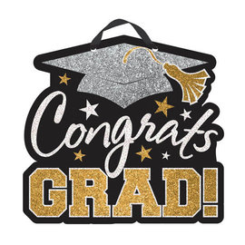 Congrats Grad Value Sign - Black , Silver , Gold