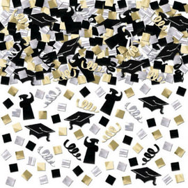 Grad Super Mega Value Confetti - Black, Silver & Gold 5oz