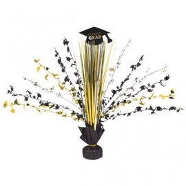 Grad Spray Centerpiece - Black, Silver & Gold