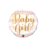 Baby Girl Pink Stripes Foil Balloon, 18""