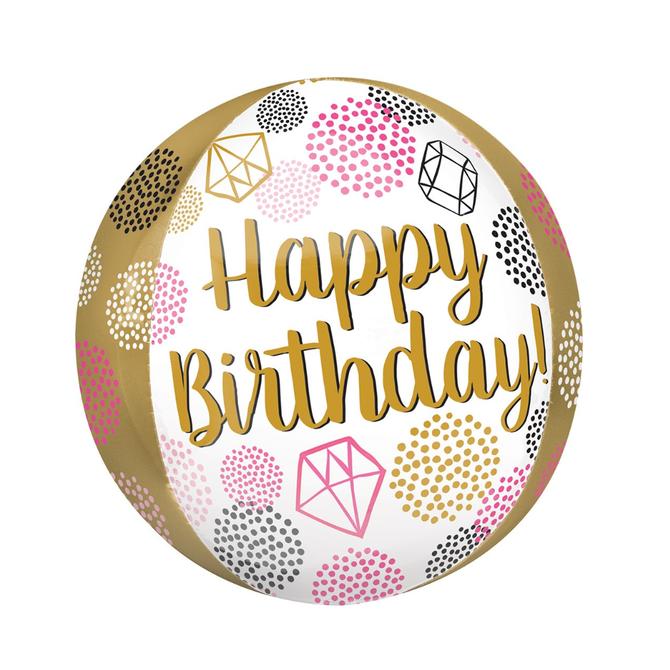 "Happy Birthday Gems Orbz, 16"""
