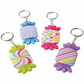 Candy Rubber Keychains, 12ct