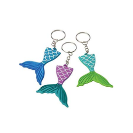 Mermaid Tail Rubber Keychain, 12ct