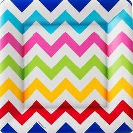 "Bright Chevron 10"" Square Plate, 18ct"