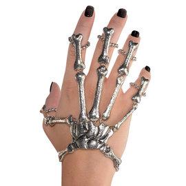 Black and Bone Skeleton Hand Bracelet