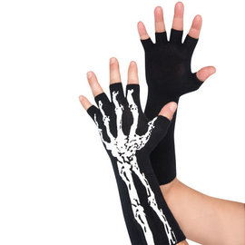 Skeleton Glow-In-The-Dark Fingerless Gloves