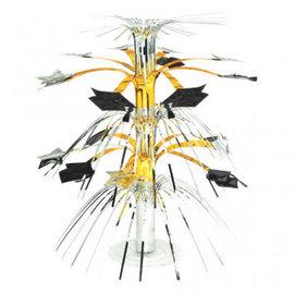 """Grad Cascade Centerpiece - Black, Silver & Gold 14"""""""