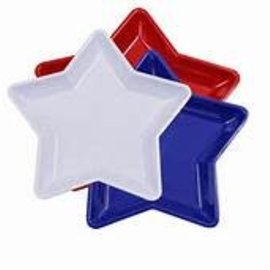 Star Shaped Plastic Dish-Red, White or Blue